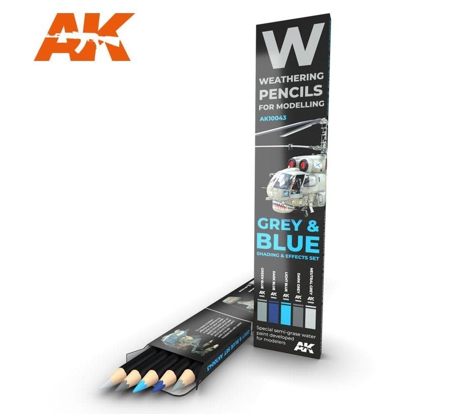 10043 Weathering Pencils: Grey & Blue Shading & Effects  Set (5 Colors)