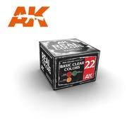 AK INTERACTIVE (AKI) RCS22 Real Colors  Basic Clear Colors Acrylic Lacquer Paint Set (3) 10ml Bottles