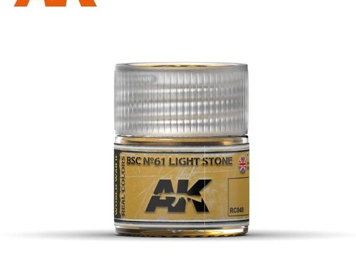 AK INTERACTIVE (AKI) RC40 Real Colors  BSC Nº61 Light Stone Acrylic Lacquer Paint 10ml Bottle