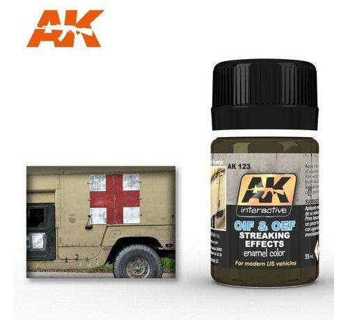 AK INTERACTIVE (AKI) 123 OIF & OEF US Modern Vehicles Streaking Effects Enamel Paint 35ml Bottle