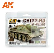 AK INTERACTIVE (AKI) 138 Chipping Essentials Weathering Acrylic Paint Set (4 Colors) 17ml Bottles