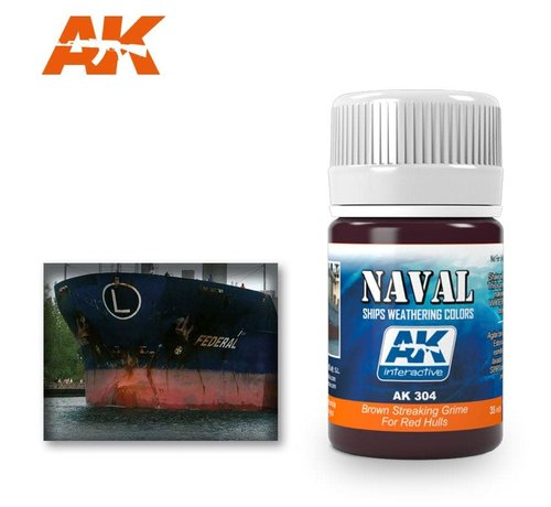 AK INTERACTIVE (AKI) 304 Red Hulls Brown Streaking Grime Enamel Paint 35ml Bottle