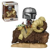 Funko Pop! Star Wars: The Mandalorian Mando on Bantha with Child in Bag Deluxe Pop!