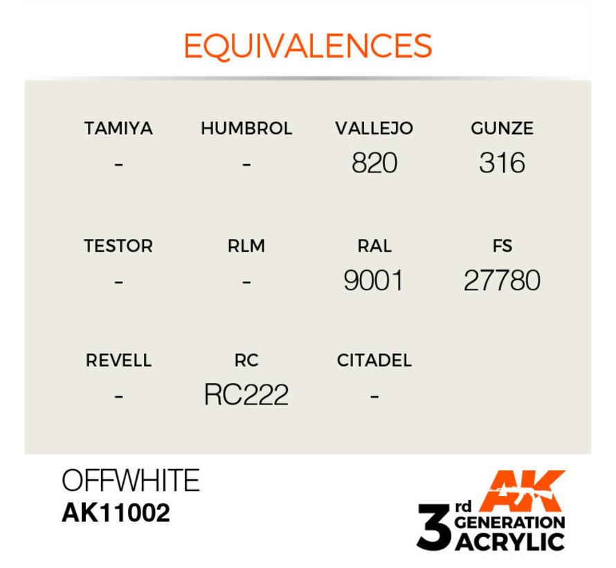 11002 AK Interactive 3rd Gen Acrylic Offwhite 17ml