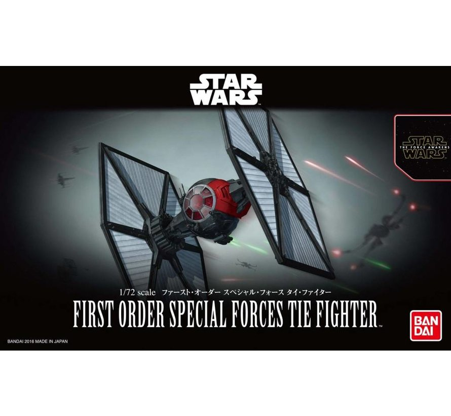 "203219 First Order Special Forces Tie Fighter ""Star Wars: The Force Awakens"", Bandai Star Wars 1/72 Plastic Model"