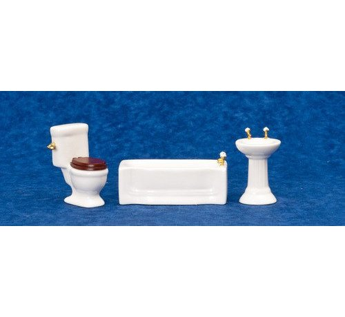AZT - Aztec Imports 3-PC BATHROOM SET/WHITE