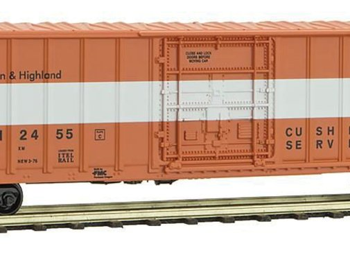 Micro-Trains Line (MTL) 489- 50' Rib-Side Plug-Door Boxcar No Roofwalk - Ready to Run -- East Camden & Highland #2455 (orange, white, Per Diem Series #11)