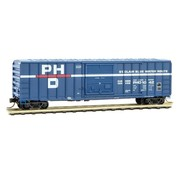 MTL - Micro-Trains Line 489- 50' Rib-Side Single-Door Boxcar No Roofwalk - Ready to Run -- Port Huron & Detroit #1042 (blue, white, red, Per Diem Series #12)