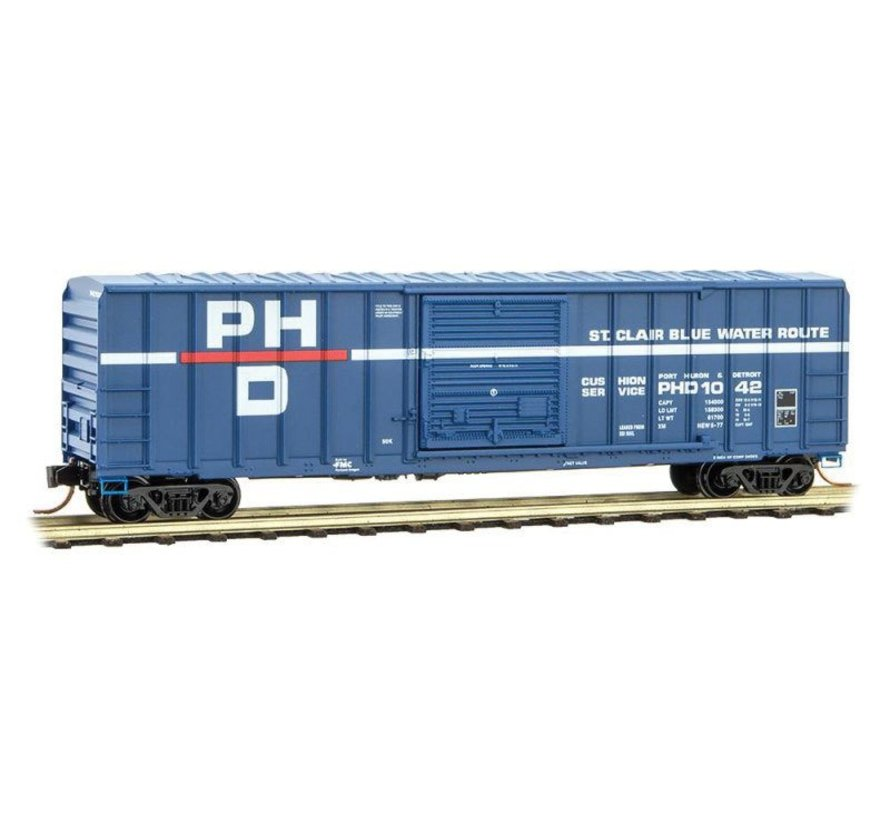 50' Rib-Side Single-Door Boxcar No Roofwalk - Ready to Run -- Port Huron & Detroit #1042 (blue, white, red, Per Diem Series #12)