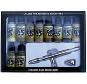 VALLEJO ACRYLIC (VLJ) 71168 Model Air Set: Camo Colors With Airbrush (10)