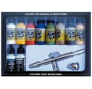 VALLEJO ACRYLIC (VLJ) 71167 Model Air Set: Basic Colors With Airbrush (10)