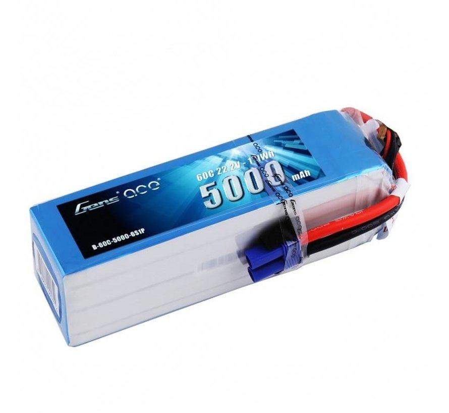 GENS ACE 5000MAH 22.2V 60C 6S1P LIPO BATTERY PACK WITH EC5 PLUG