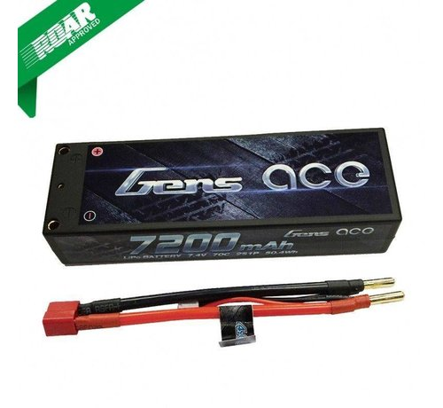 Gens ace Gens ace 7200mAh 7.4V 70C 2S1P HardCase Lipo Battery Pack 10# with 4.0mm banana to Deans plug