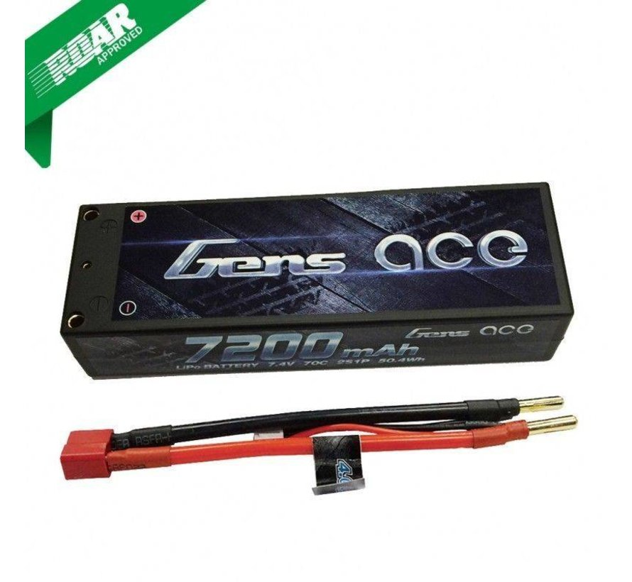 Gens ace 7200mAh 7.4V 70C 2S1P HardCase Lipo Battery Pack 10# with 4.0mm banana to Deans plug