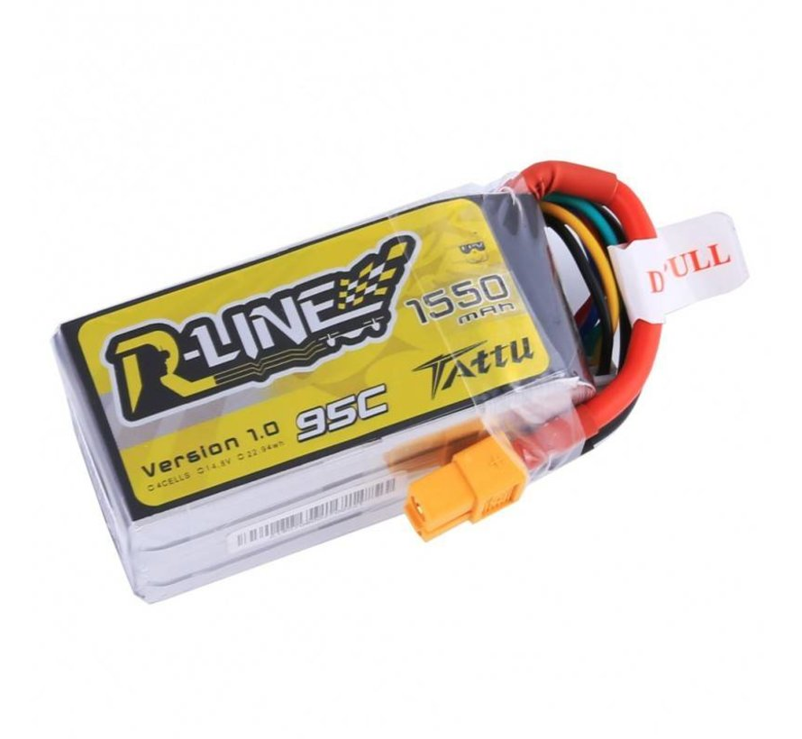 Tattu R-Line 1550mAh 95C 4S1P lipo battery pack with XT60 Plug