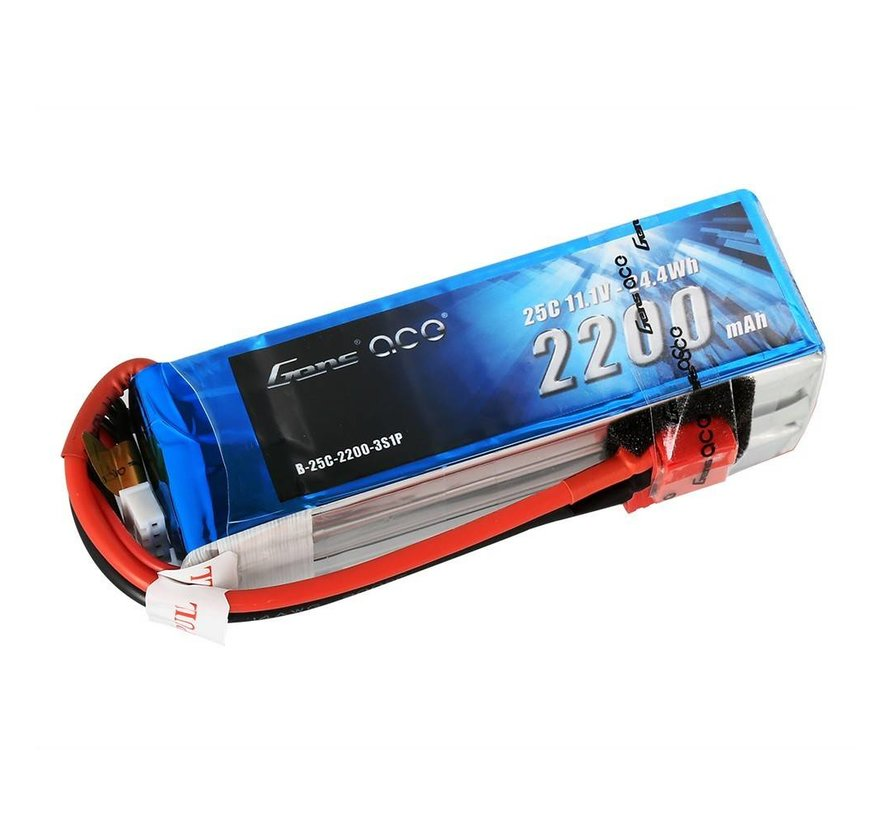 Gens ace 2200mAh 11.1V 25C 3S1P Lipo Battery Pack with Deans plug