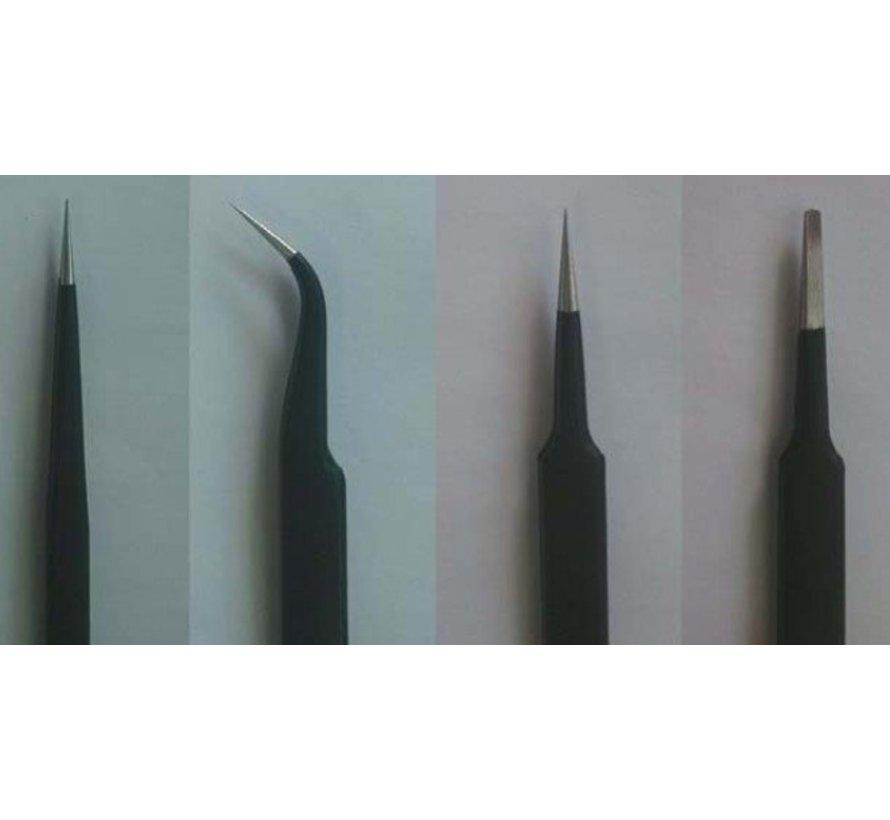 09957 Tweezers Set (4pcs): Long, Curved, Straight, Flat *