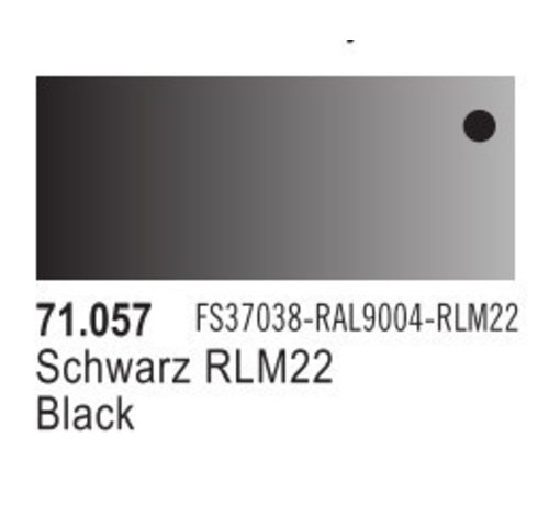 VALLEJO ACRYLIC (VLJ) 71057 Flat BLACK  FS37038  17ML - Model Air