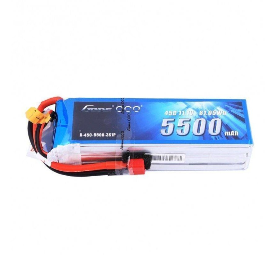 Gens ace 5500mAh 3S 11.1V 45C Lipo Battery Pack with Deans plug