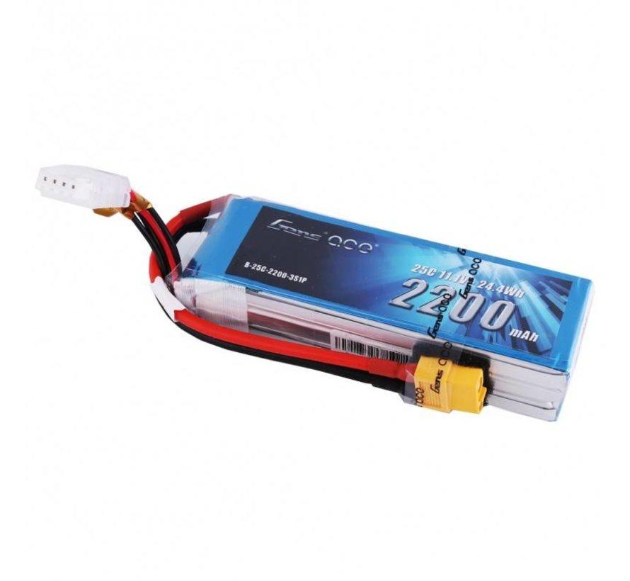 Gens ace 2200mAh 3S 11.1V 25C Lipo Battery Pack with XT60 plug