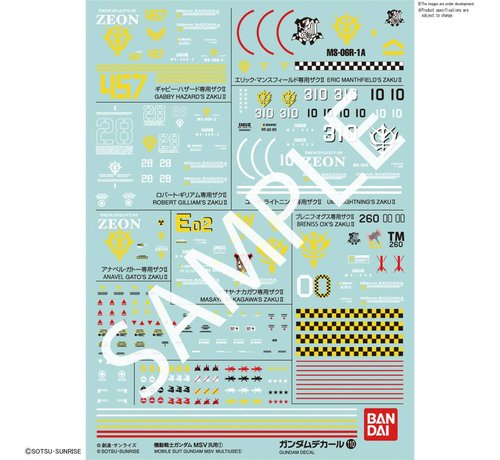 "BANDAI MODEL KITS 221290 GUNDAM DECAL No.110 Multi-Use ""Mobile Suit Gundam MSV""  Bandai Decals"
