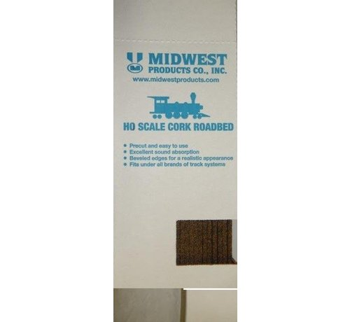 Midwest (MID) 472- 3013 HO Cork Roadbed 3' (25) BOX