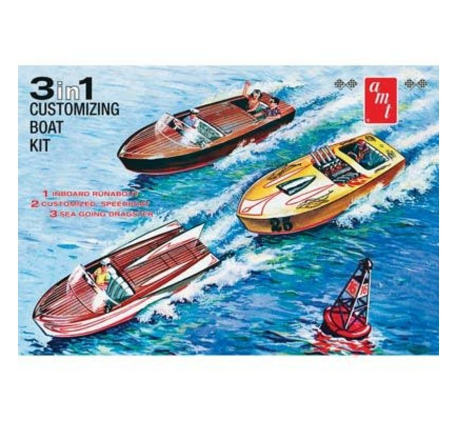 AMT1056/12 1/25 Customizing Boat 3 in 1 Plastic Model Kit