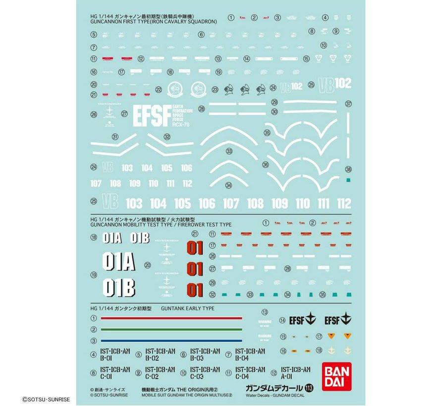 """221293 GUNDAM DECAL No.113 Multi-Use """"MOBILE SUIT GUNDAM THE ORIGIN"""" Bandai Decals"""