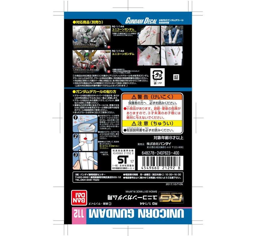 """221292 GUNDAM DECAL No.112 RG 1/144 UNICORN GUNDAM """"Gundam Unicorn"""" Bandai Decals"""
