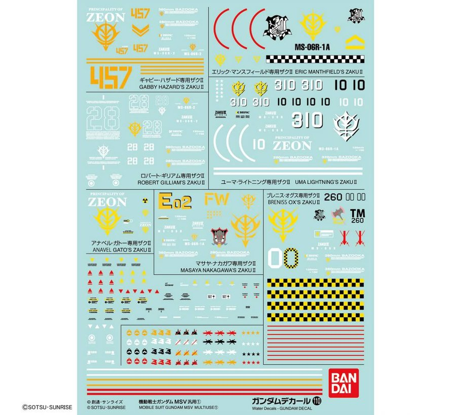 "221290 GUNDAM DECAL No.110 Multi-Use ""Mobile Suit Gundam MSV""  Bandai Decals"
