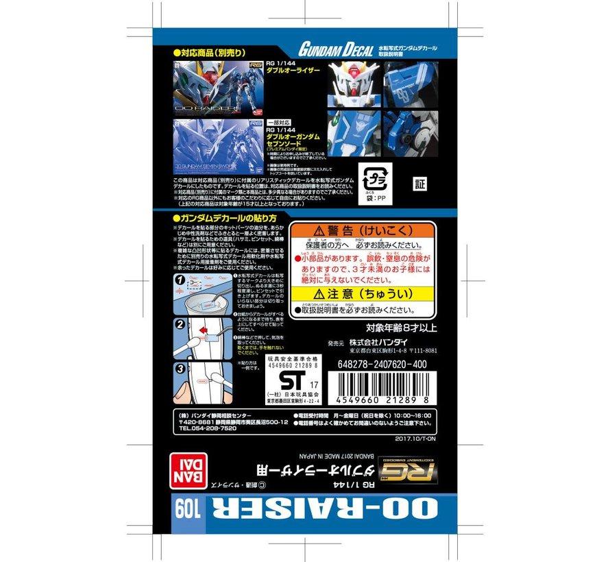 "221289 GUNDAM DECAL No.109 RG 1/144 OO-RAISER ""Gundam 00"" Bandai Decals"