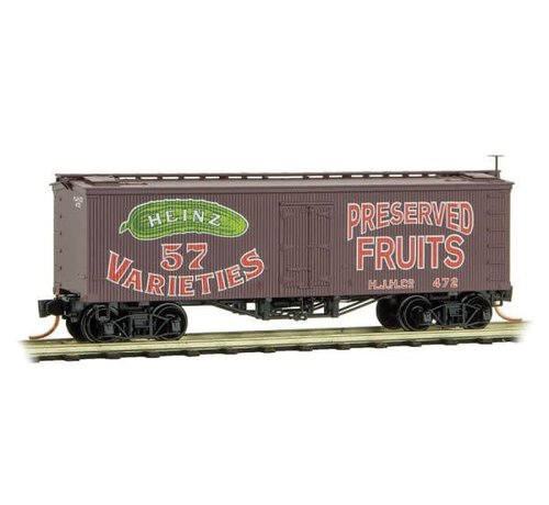 MTL - Micro-Trains Line 489- 36' Wood-Sheathed Ice Reefer - Ready to Run -- Heinz 472 (Boxcar Red, red, green, Preserved Fruits, Heinz Series 2)