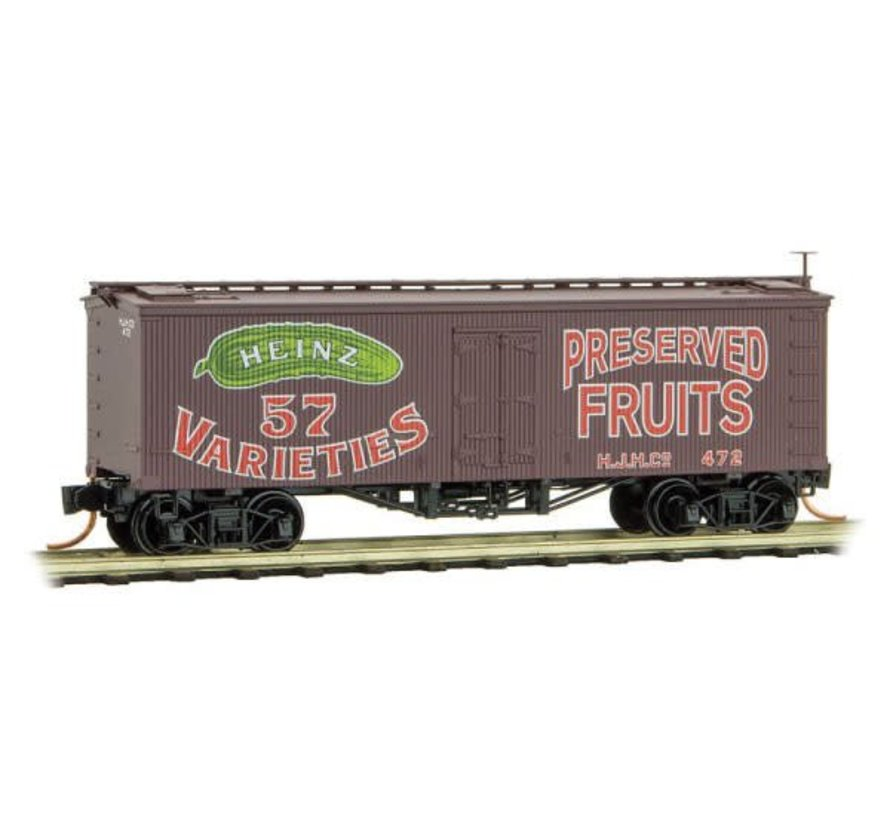 36' Wood-Sheathed Ice Reefer - Ready to Run -- Heinz 472 (Boxcar Red, red, green, Preserved Fruits, Heinz Series 2)