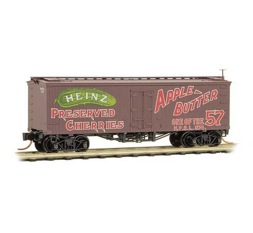 MTL - Micro-Trains Line 489- 36' Wood-Sheathed Ice Reefer - Ready to Run -- Heinz 374 (Boxcar Red, red, green, Apple Butter, Heinz Series 1)
