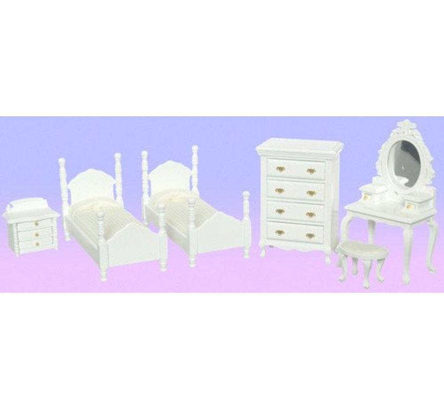 TWIN BEDROOM SET/6/WH/CS