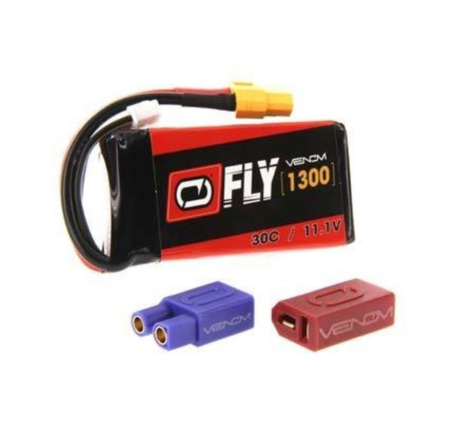 25028 LiPo 3S 11.1V 1300mAh 30C Universal Plug 2.0 Fly Battery
