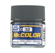 Mr. Hobby GSI - GNZ C32 Semi-Gloss Dark Gray (2) 10ml , GSI Mr. Color