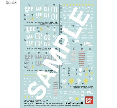 "BANDAI MODEL KITS Gundam Decal 120 Mobile Suit Gundam Side Story The Blue Destiny ""Gundam The Blue Destiny"" Bandai Decals"