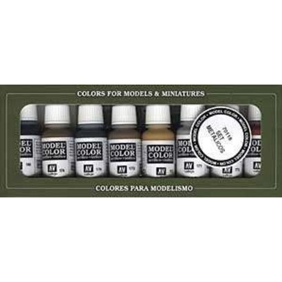 VLJ-VALLEJO ACRYLIC PAINTS 70118 - METALLIC COLORS (8)         17ML