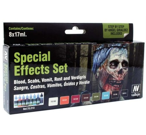 VLJ-VALLEJO ACRYLIC PAINTS 72213 - SPECIAL EFFECTS PAINT SET (8) 17ML