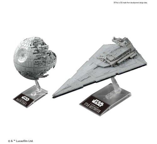 """BANDAI MODEL KITS 230358 Death Star II 1/2,700,000 & Star Destroyer 1/14,500 """"Star Wars"""", Bandai Star Wars Plastic Model"""