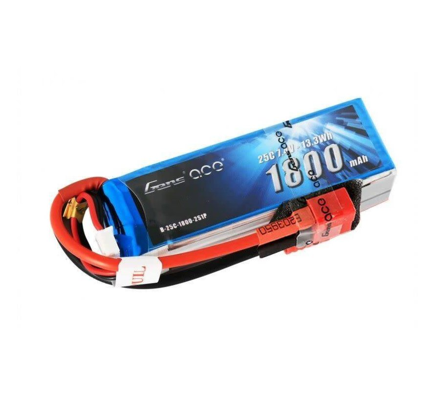 Gens ace 1800mAh 7.4V 25C 2S1P Lipo Battery Pack with Deans plug