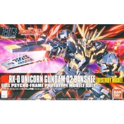 "BANDAI MODEL KITS 173901 #134 Unicorn Gundam 02 Banshee Destroy Mode ""Gundam UC"" Bandai HGUC 1/144"