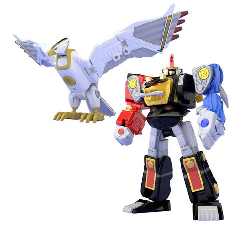 "Bandai Shokugan 25093 Ninja Megazord & White Ninja Falconzord Set ""Mighty Morphin Alien Rangers"", Bandai Super Mini Pla"