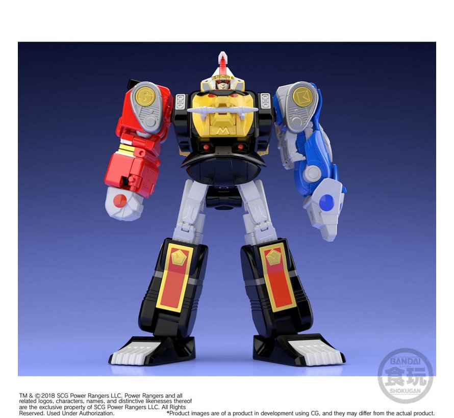 "25093 Ninja Megazord & White Ninja Falconzord Set ""Mighty Morphin Alien Rangers"", Bandai Super Mini Pla"