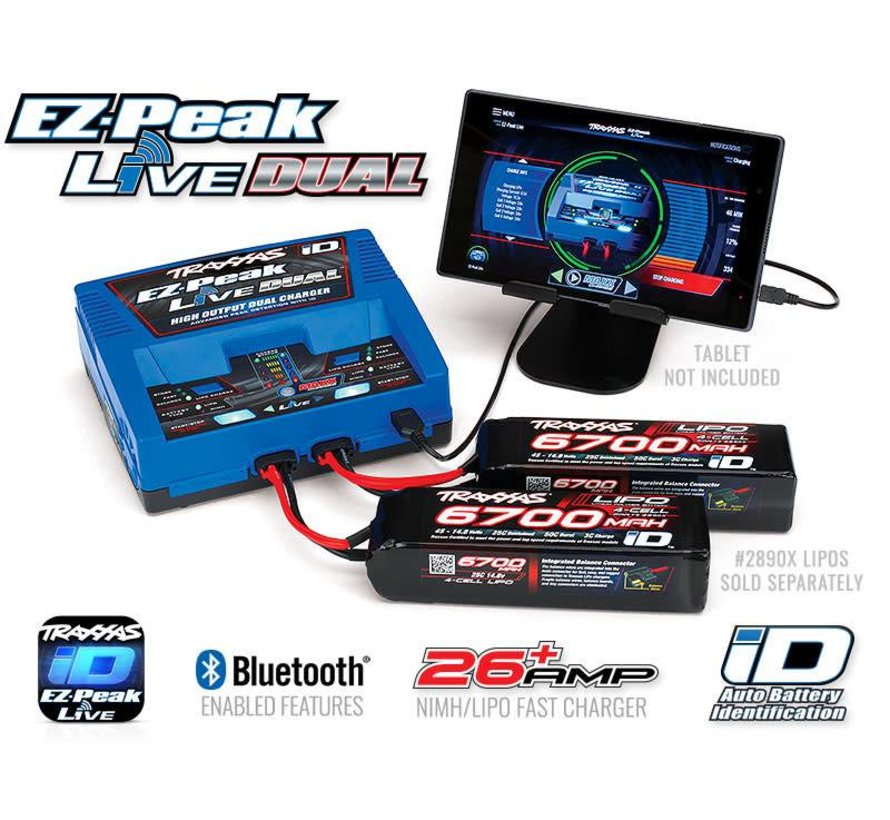 2973 - Charger, EZ-Peak Live Dual, 200W, NiMH/LiPo with iD Auto Battery Identification