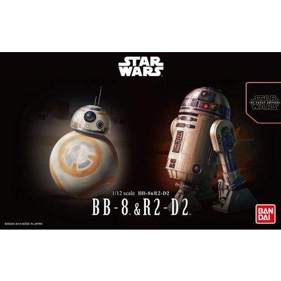 """BANDAI MODEL KITS 203220 BB-8 & R2-D2 """"Star Wars"""", Bandai Star Wars Character Line 1/12"""