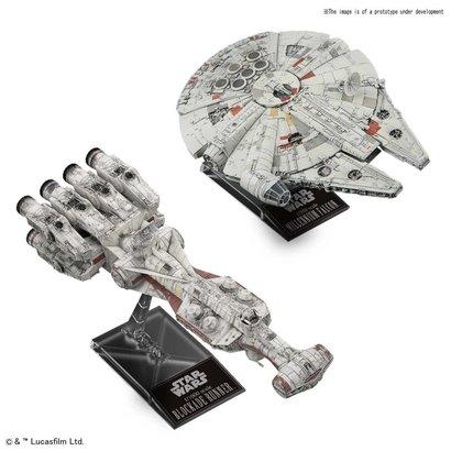 "BANDAI MODEL KITS 5055363 Blockade Runner 1/1000  & Millennium Falcon 1/350 ""Star Wars"", Bandai Star Wars Plastic Model"