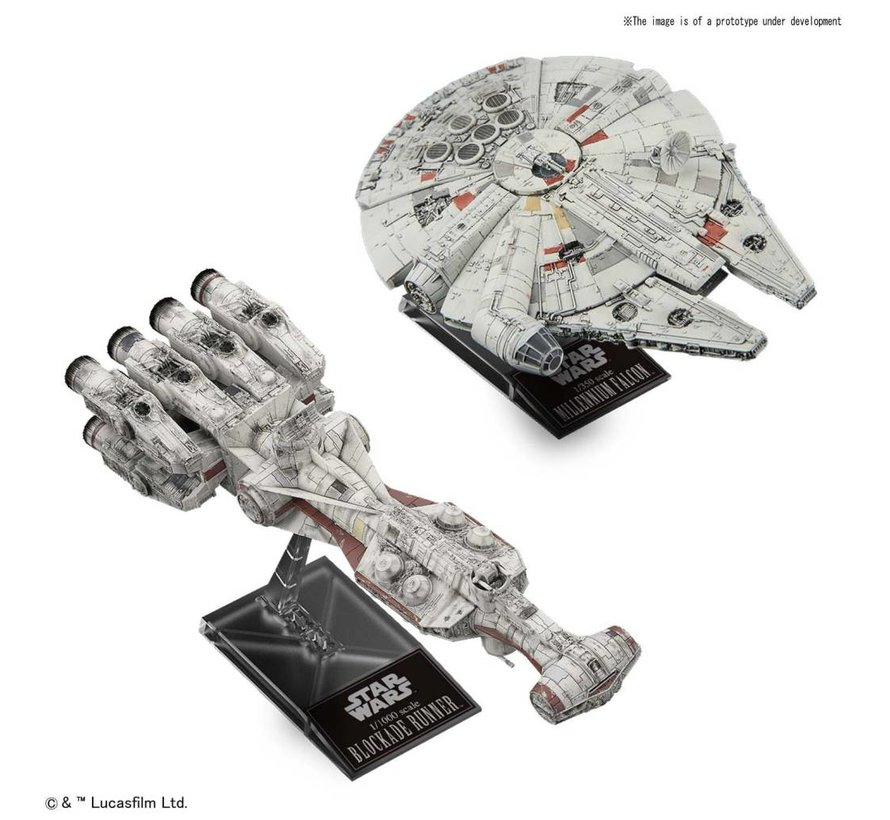"5055363 Blockade Runner 1/1000  & Millennium Falcon 1/350 ""Star Wars"", Bandai Star Wars Plastic Model"