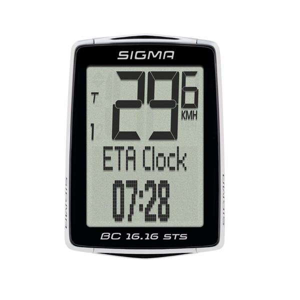 Sigma BC 16.16 STS Wireless Cycling Computer: Black. General Functions: Full text display with seven available languages, Predefined tire sizes, two adjustable wheel sizes, Automatic start/stop with motion sensor, Back-up function via memory chip, Battery